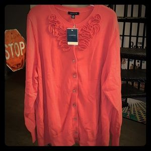 Land's End women's 3X coral cardigan sweater